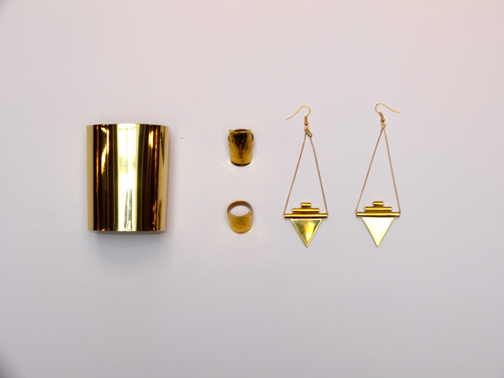 Adora Cuff $150, Shield Ring $110, Tetra Ring $90, Empire Earrings $115
