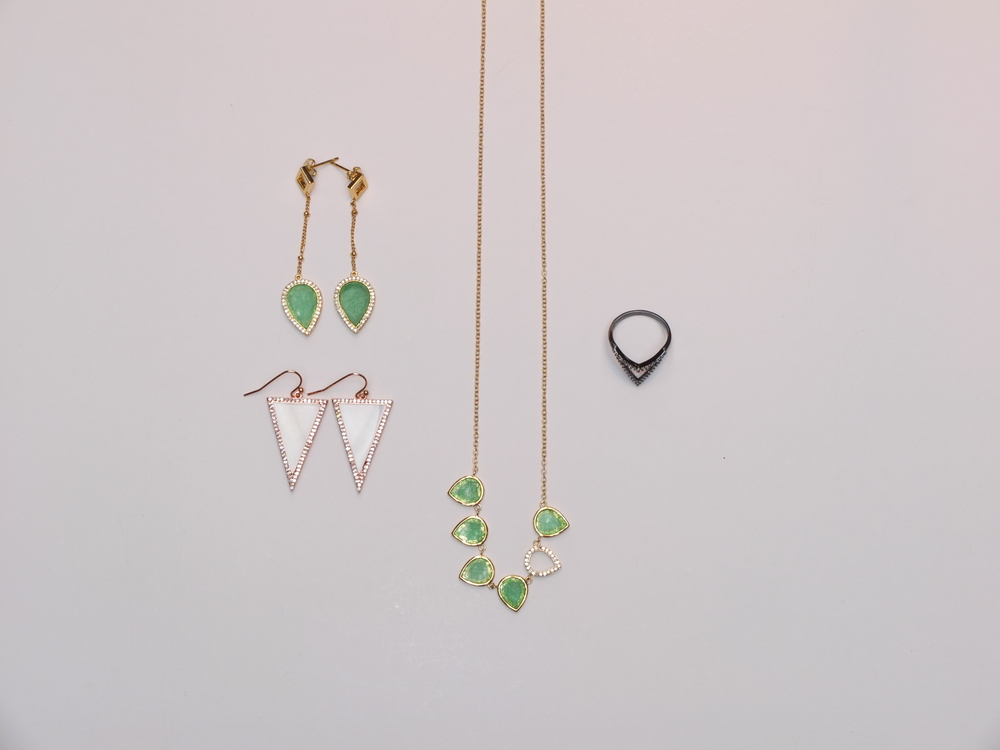 Jade Tear Drop Earrings $125, Pave Triangle Earrings $130, Mini Tear Necklace $158, Pave Ring Gunmetal $59