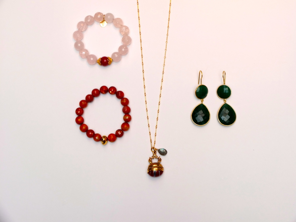 VR Rose Quarts Bracelet $98, VR Carnelian Bracelet $98, VR FOB Necklace $199, VR Emerald Drop Earrings $198