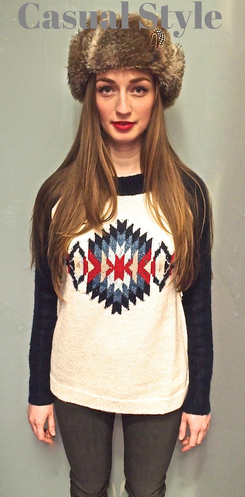 Nobis- Faux fur hat $75, Kingsley-Navajo Crew Sweater $195, JBrand Skinny Jean $269