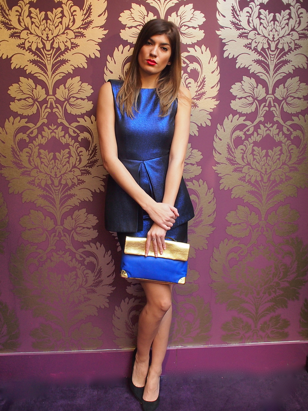 Tiger of Sweden - Chantelle Dress $339, Golden Lane - Gold and Blue Duo Clutch $299, Dolce Vita - Yanni Pump $215