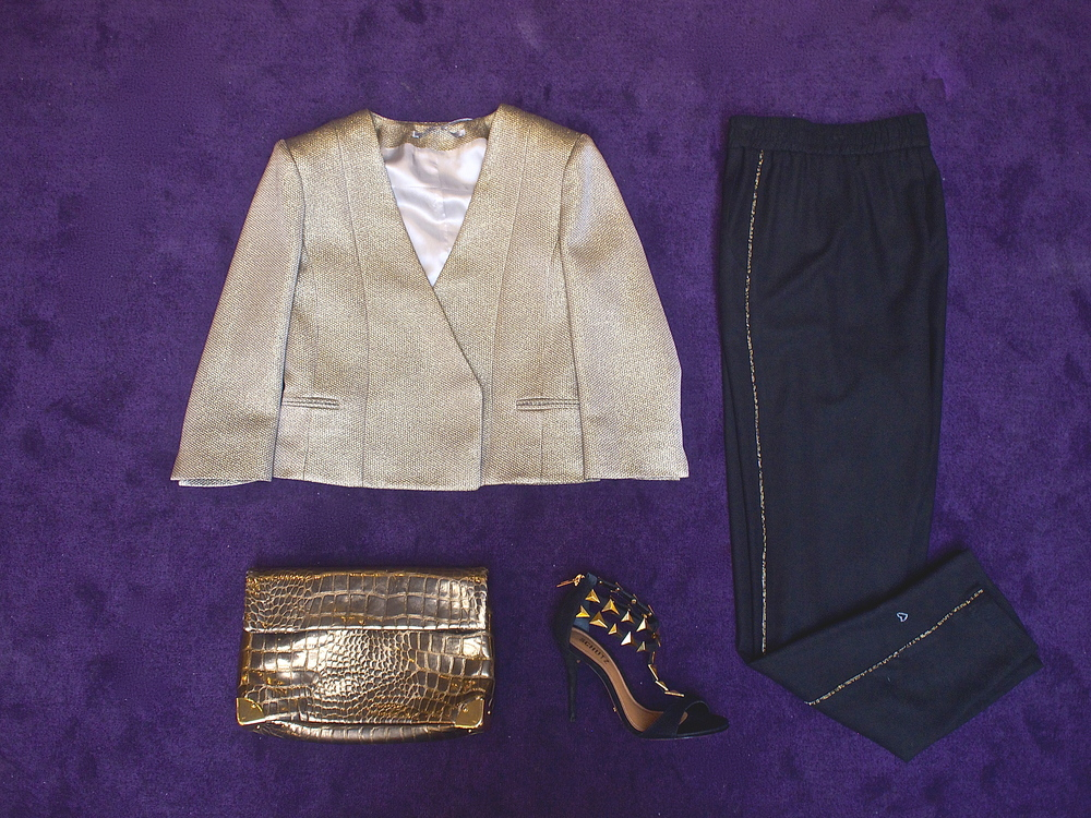 Tiger of Sweden - Cateine Crop Jacket $349, Golden Lane - Duo Croc Clutch $410, Schutz - Iris Sandal $250, Heartmade - Jemaa Beaded Pant $315