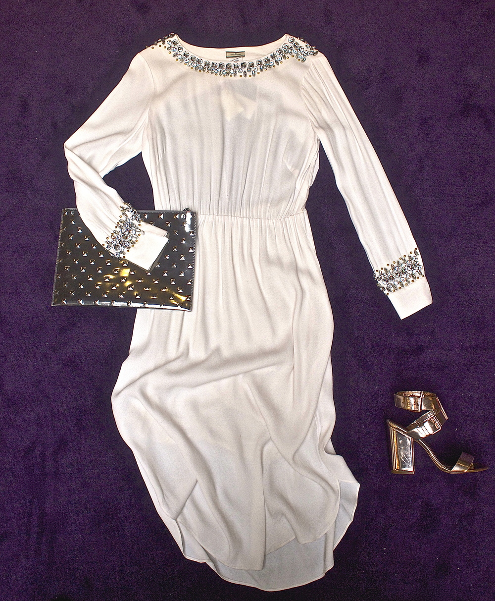 Malene Birger - Livisia Dress $895, Ela - Editors's Studded Pouch Silver $218, Ted Baker - Lissom Shoe Rose Gold $298