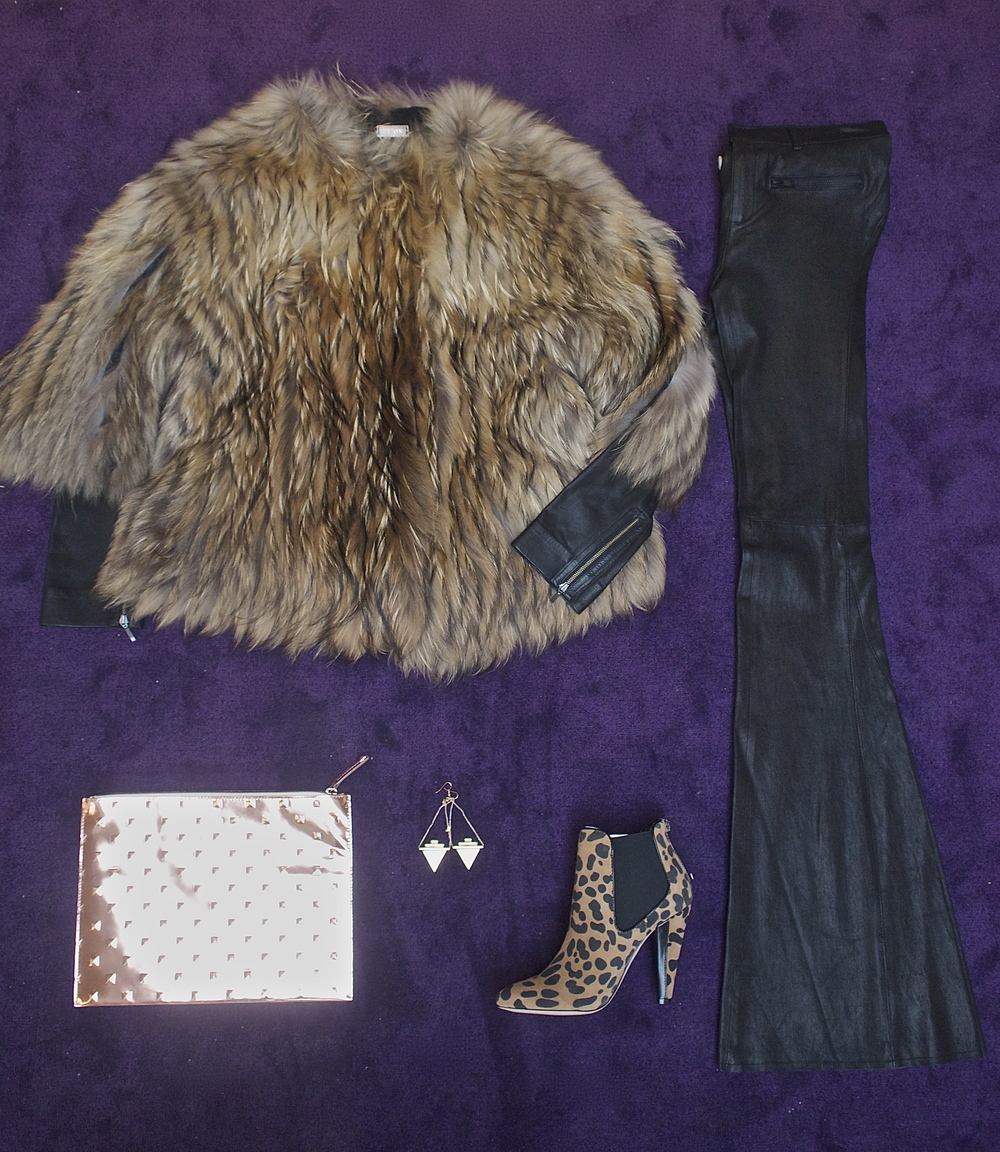 Utzon - Fur Bolero $2950, Ela - Editors Studded Pouch Rose Gold $218, Niki&Lola - Empire Earrings $115, Dolce Vita - Fife Bootie $160, American Retro - Flare Leather Pants $1295