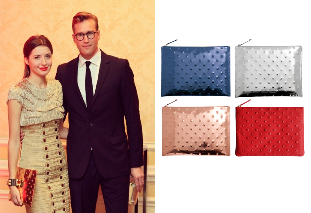 Ela Bags - Editors Pouch - Mirror Blue, Silver and Rose Gold $218         Editors Stud Clutch - Red $238