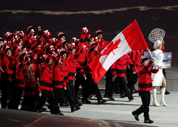 Canada was a sea of red in their Hudson's Bay wool toggle coats paired with classic Adidas shell toe sneakers and iconic Canada toques and mittens.
