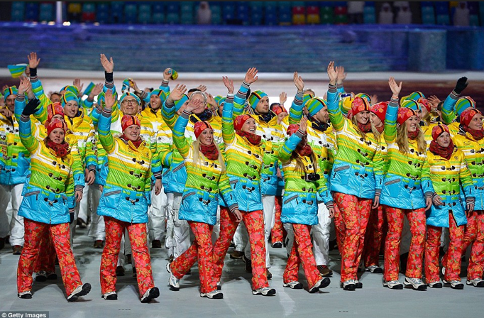 The German team is right on trend for Spring 2014 in their bright colours and mix of patterns designed by Willy Bogner.  Their outfits sparked a media controversy on whether Germany is sending a political message to Russia with their rainbow uniforms, or do they just love colour?