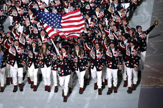 Classic American apres ski was the inspiration behind the Ralph Lauren designed American uniforms of white pants, turtlenecks and patriotic cardigans. Unlike previous years, the 2014 uniforms are made in the USA.