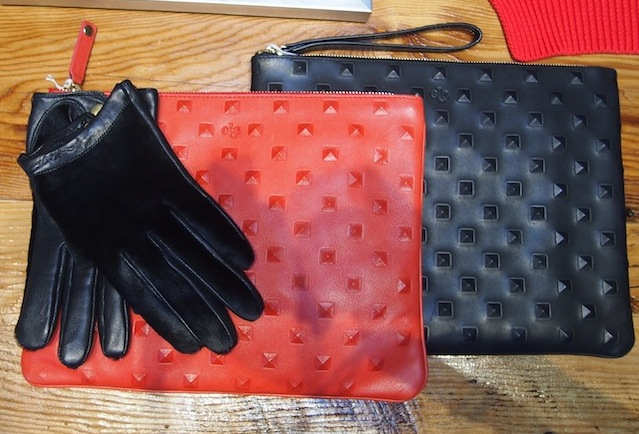 Studded Clutches by Ela $298 Pony Hair Gloves by Quill & Tine $155