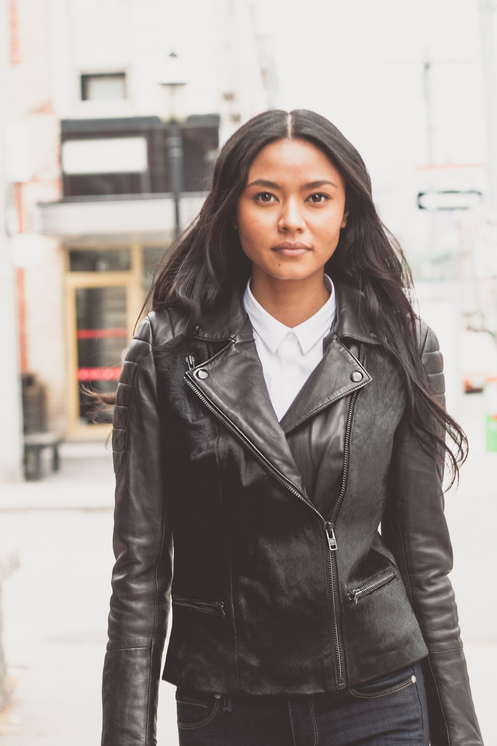Featuring Muubaa Mula Cow Hair On Leather Biker Jacket $975, Tiger of Sweden Darcell Shirt Hidden Button $185, Paige Denim Skyline Skinny Mona Mid-Rise $259