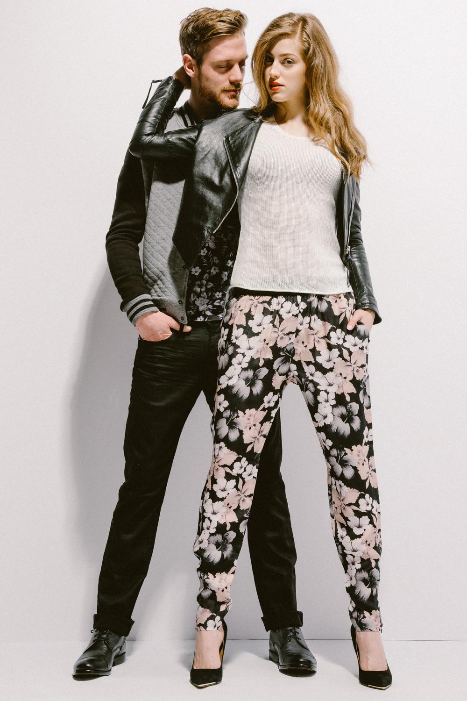 Leather Jacket by Tiger Of Sweden $595 | Knit Top by Velvet 158 | Floral Pants by J. Lindeberg $225