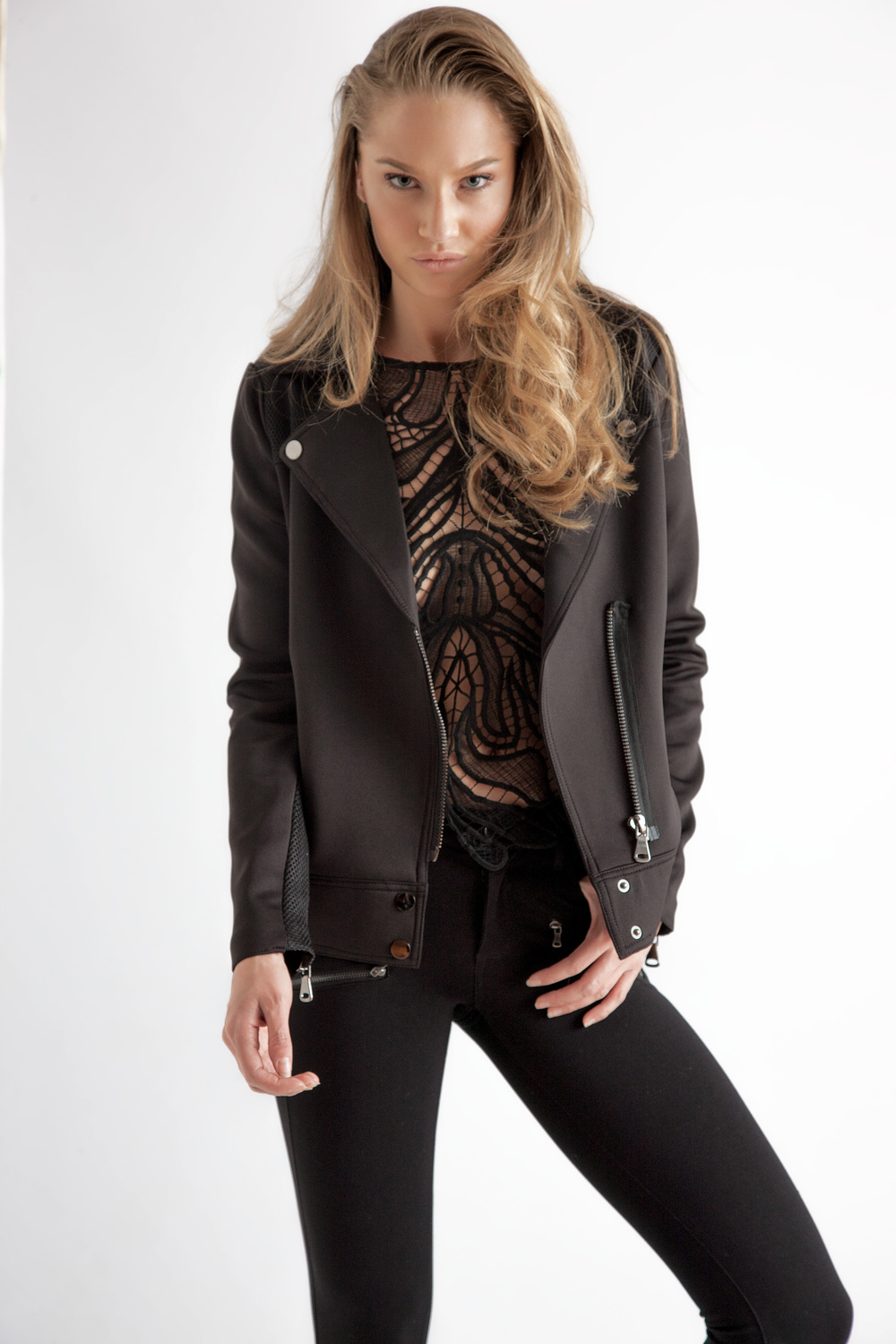 Lace Top by Generation Love $245 | Moto Jacket by John & Jenn $149 | Ponte Pant by Paige $299