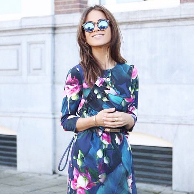 Transition into fall with mirrored sunnies and dark florals. Dress by Ted Baker $330 #availablenow #fallfasion #winterflorals #tedbaker #regram