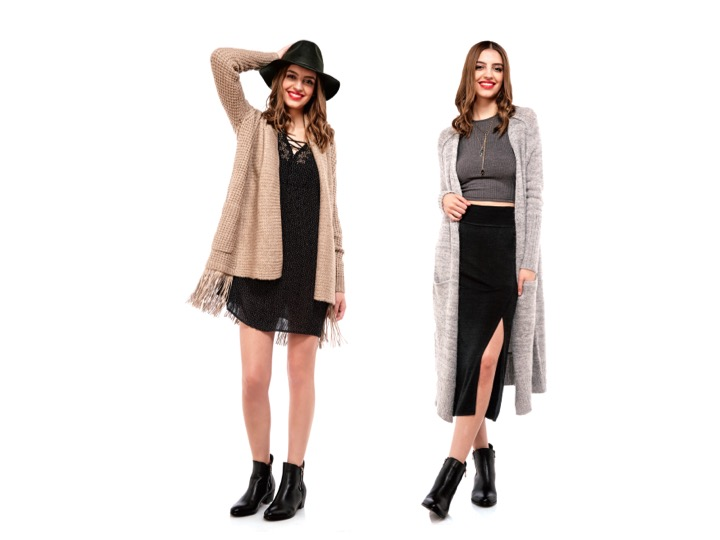 Left: Fringe Cardigan by Line $249 | Boho Dress by Velvet $205 | Fedora by Brixton $80 | Right: Long Cardigan by Free People $168 | Crop Top by Glamorous $32 | Knit Skirt by Selected Femme $68 | Necklaces by Standing O $124-$138
