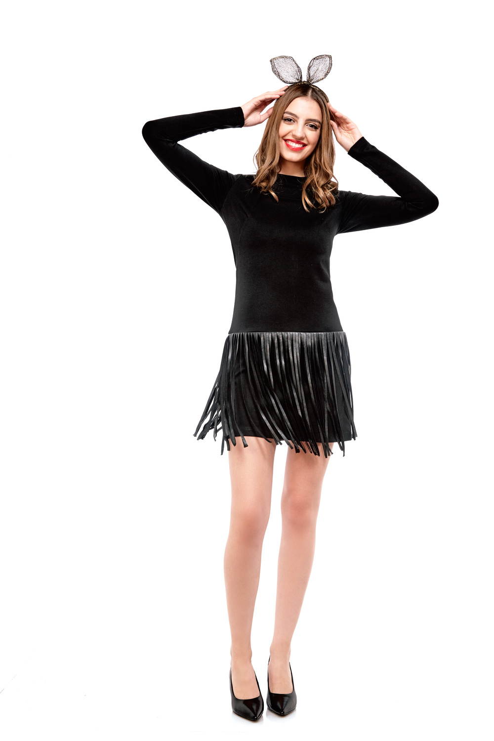 Fringe Dress By Amanda Uprichard $288 | Lace Bunny Ears by Essentiel $38