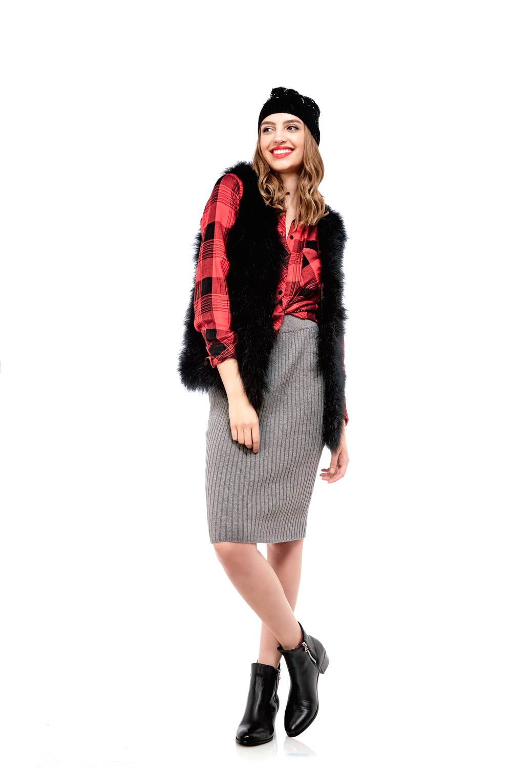 Plaid Shirt by Rails $198 | Feather Vest by Generation Love $398 | Knit Skirt by Glamorous $65 | Leather Booties by Cartel $220 | Beaded Toque by Rella $70