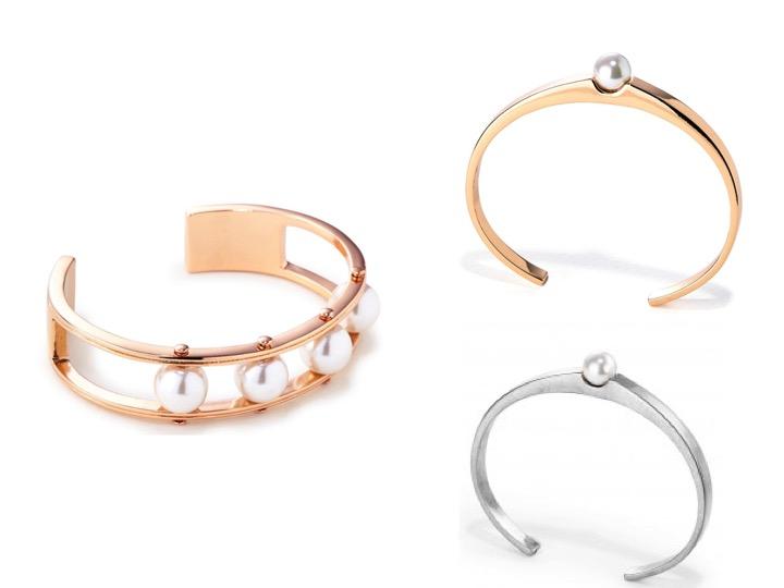 Lyons Cuff Bracelet in Rose Gold $95 | Blanchett Bracelet in Rose Gold & Silver $80