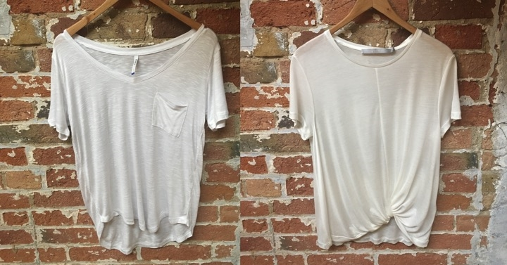 Left-V-neck pocket tee in linen blend fabric by AOLE $45 Right-Crewneck knotted tee in viscose fabric by Tiger Of Sweden $119