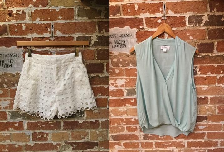Suncoo Eyelet Lace Short $165 Velvet Sleeveless Challis Shirt $148
