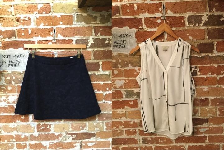 Suncoo Flared Textured Mini Skirt $140 Ecru Sleeveless Blouse $225