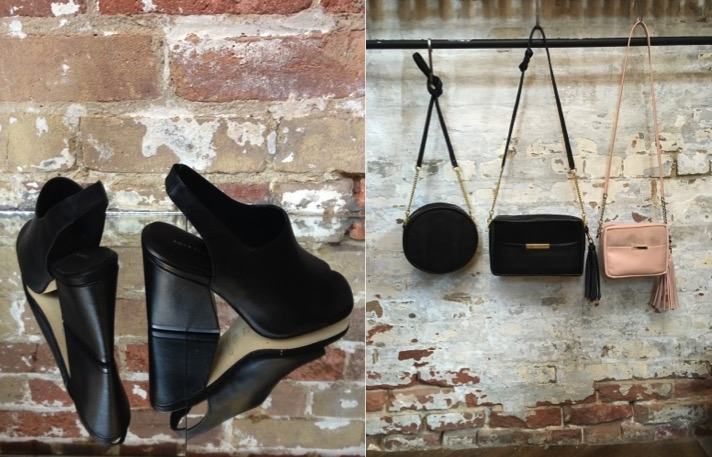 Tiger Of Sweden Leather Slingbacks $289 Opelle Leather Cross Body Bags (left to right) $325, $300, $250