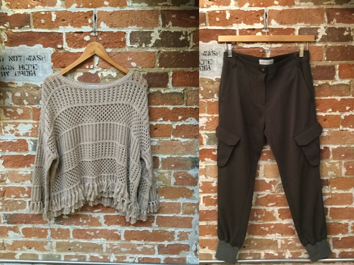 Autumn Cashmere Fringe Sweater $255 James Jeans Cargo Joggers $298