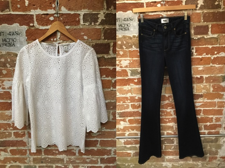 Maison Scotch Eyelet Top $249 Paige High Waisted Flared Jeans $305