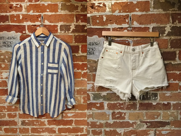 Maison Scotch Linen Stripe Shirt $139 Levi's Cutouff Shorts $69