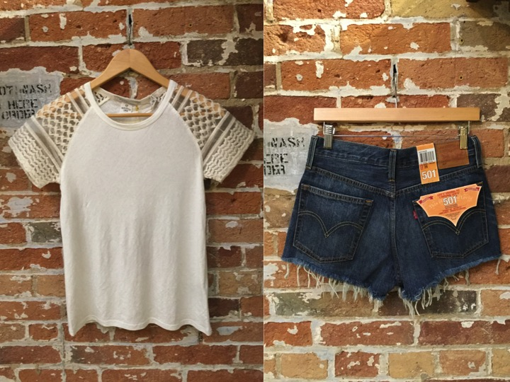 Maison Scotch Tee $139 Levi's Denim Cutoff Shorts $69