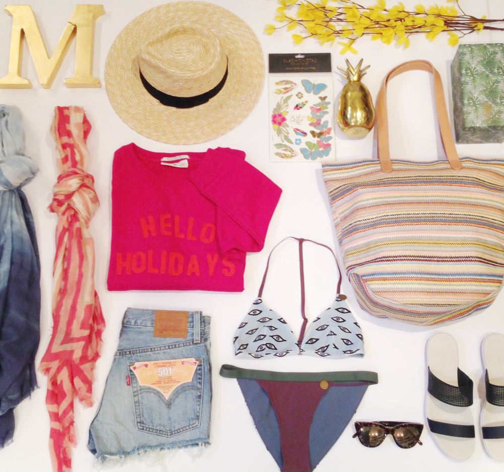 Scarves by Moment By Moment $65 & $75 | Straw Hat by Brixton $72 | Denim Cutoff Shorts by Levi's $69 | Bikini by Love Stories $185 | Sunglasses by Le Specs $88 | Hello Holidays Sweatshirt by Maison Scotch $109 | Temporary Tattoos by Flashionista's $24 | Gold Pineapple Cup $45 | Straw Tote Bag by Herschel $85 | Slide Sandals by Lacoste $150