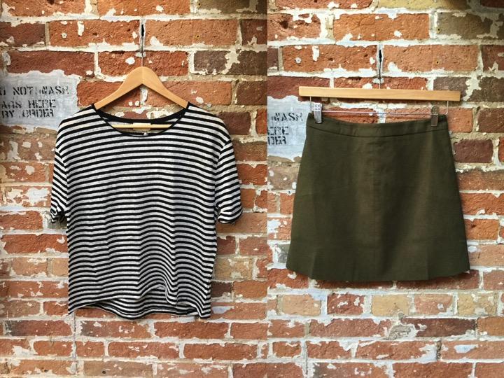 American Vintage Stripe Tee $88 Suncoo Suede Mini Skirt $165
