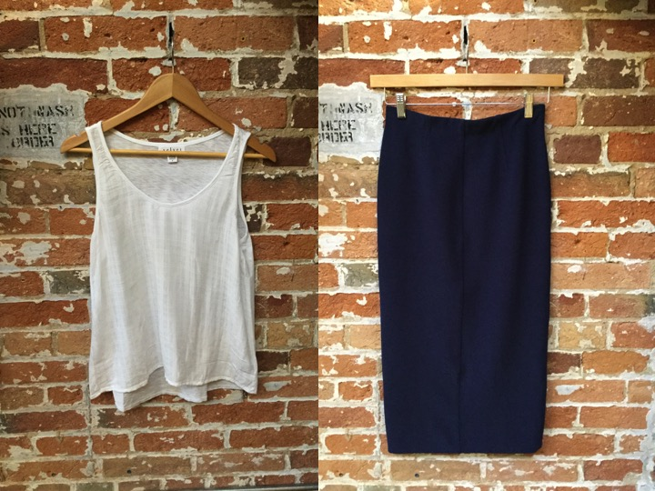 Velvet tank $118 Malene Birger pencil skirt $275