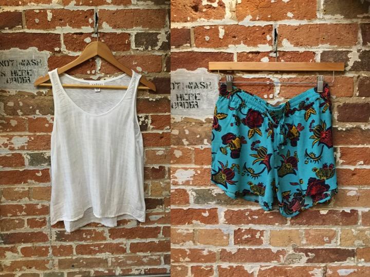 Velvet tank $118 Maison Scotch shorts $109