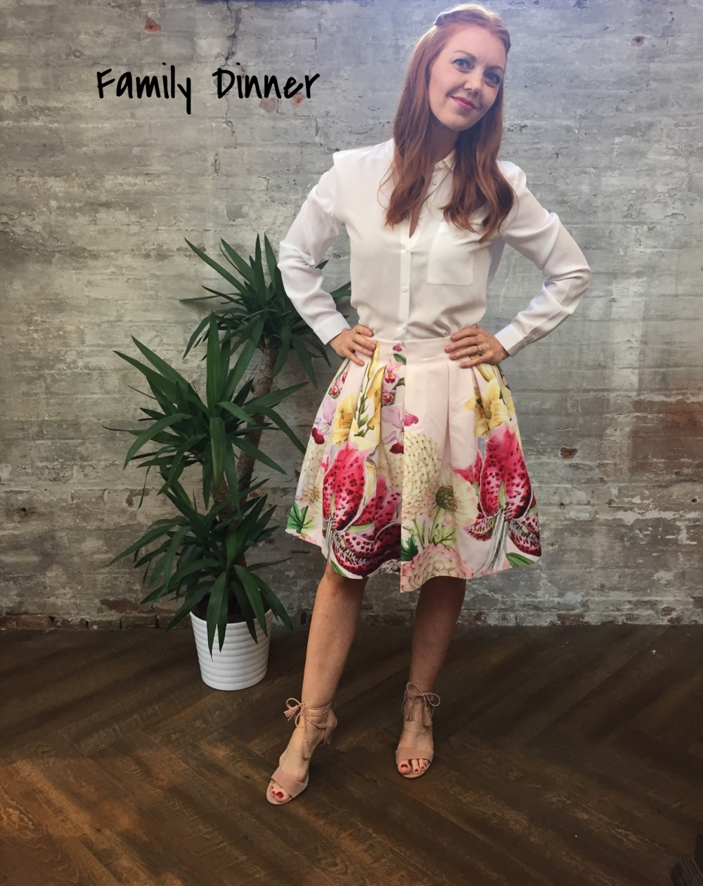 Family dinners can range from fun to extremely nerve racking, especially if you're meeting his family for the first time. Dress conservatively in a simple white blouse and a printed party skirt that will accommodate a hearty meal and a potluck setting of desserts. American Vintage Blouse $220 Ted Baker Skirt $289