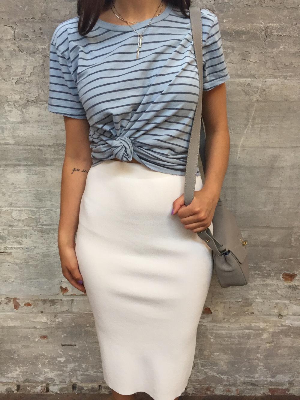 Velvet Striped Cotton Tee $148 Autumn Cashmere Skirt $240 Ela Mini Saddle Bag $345 Wolf Circus Bolero Lariat $89