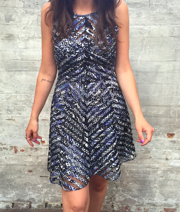 Parker Silk with Mesh Insert Dress $368