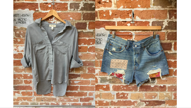 Bella Dahl Grey Split Back Blouse $200 Levis's Patchwork Cut Off Shorts $79