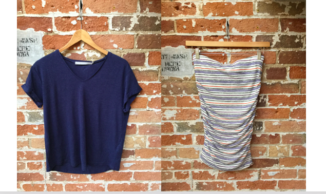 Tiger of Sweden Linen Tee $79 Velvet Stripe Skirt $148