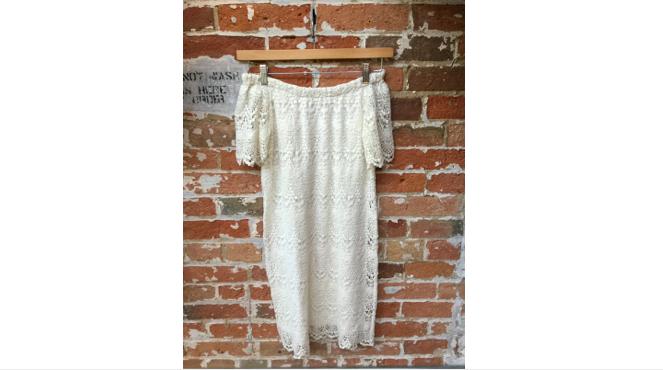 Velvet Off The Shoulder Lace Dress $218