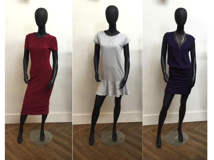 Left to Right: Malene Birger Midi Dress, was $395 now $277 Velvet Grey Dress, was $168 now $134 Velvet Ruched Dress was $188 now $131