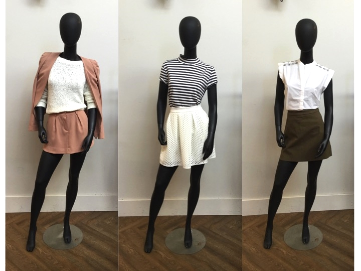 Left to Right: James Jeans Blazer, was $398 now $318 | James Jeans Skort, was $250 now $200  | Tiger of Sweden Sweater was now $249, now $174 Just Female Stripe Tee, was $105 now $84 | Suncoo Skirt, was $155 now $124 Essentiel Beaded Top, was $225 now $180  | Suncoo Suede Skirt, was $165 now $115