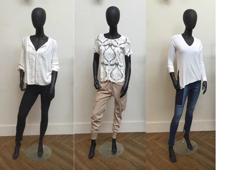 Left to Right: Parker Silk Blouse, was $268 now $218 | Paige Verdugo Zip Jeans, was $305 now $213 Generation Love Lace Tee, was $298 now $238| James Jeans Cargo Pants, was $298 now $208 Line Sweater With Side Slit, was $249 now $174 | Cheap Monday Patchwork Jeans, was $90 now $63