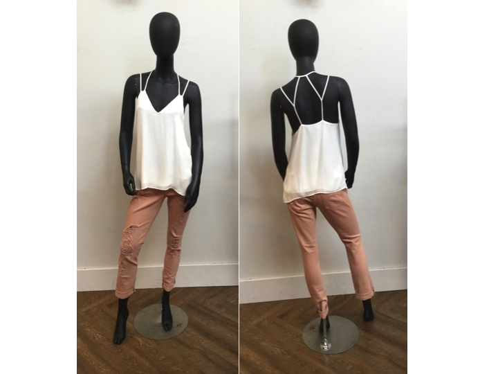 Parker Silk Tank, was $228 now $183 | James Jeans Distressed Pant, was $288 now $201