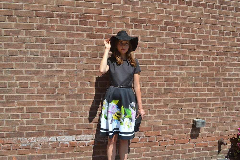 Ted Baker Floral Skater Dress $315, Brixton Hat $88