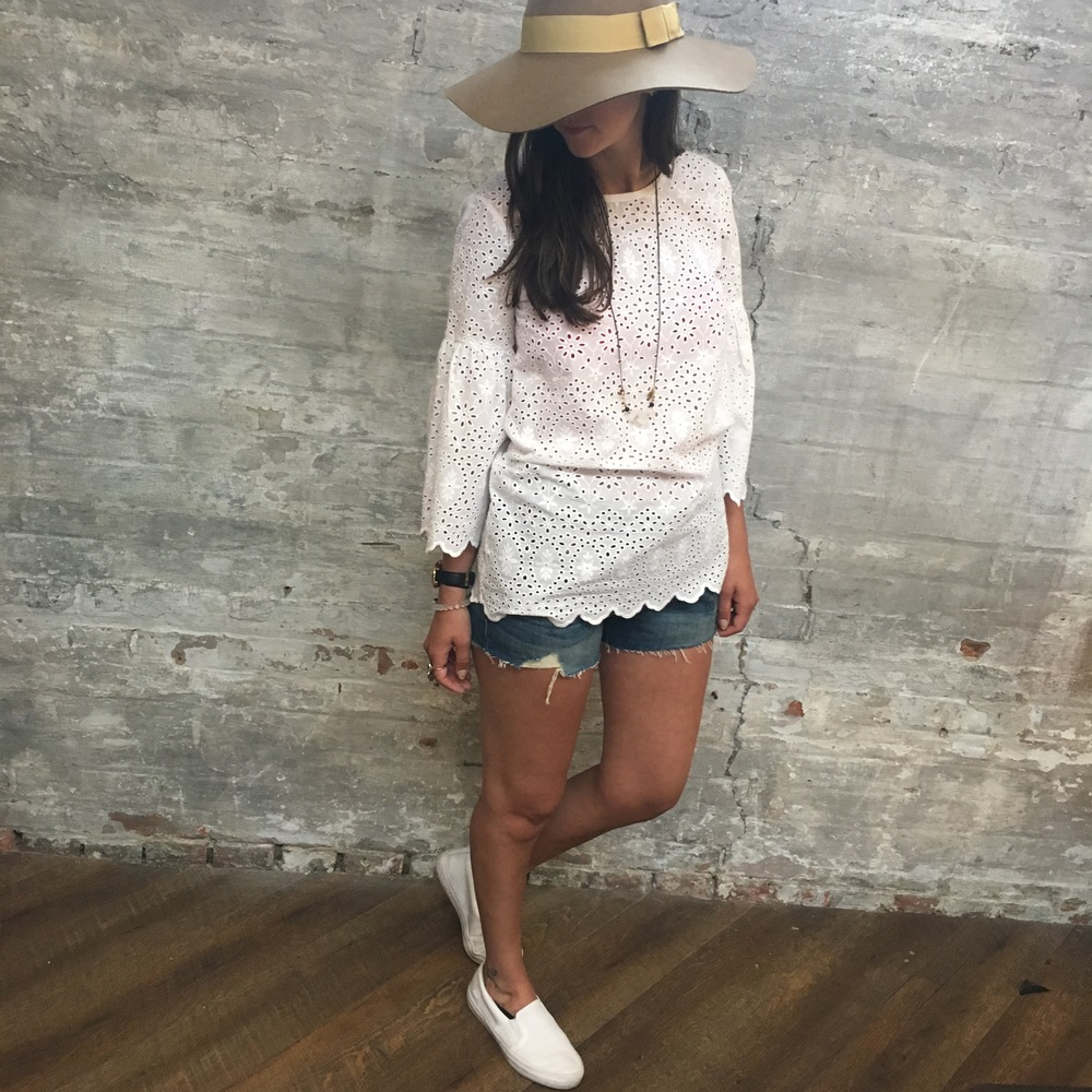 Maison Scotch Eyelet Top $249 Levi's Denim Shorts $69 Lacoste Gazon Slide Ons $165