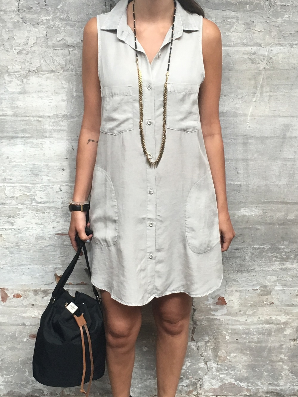 Bella Dahl Sleevless Dress $210 Herschel Bucket Bag $60 Jenny Bird Palm Rope $95