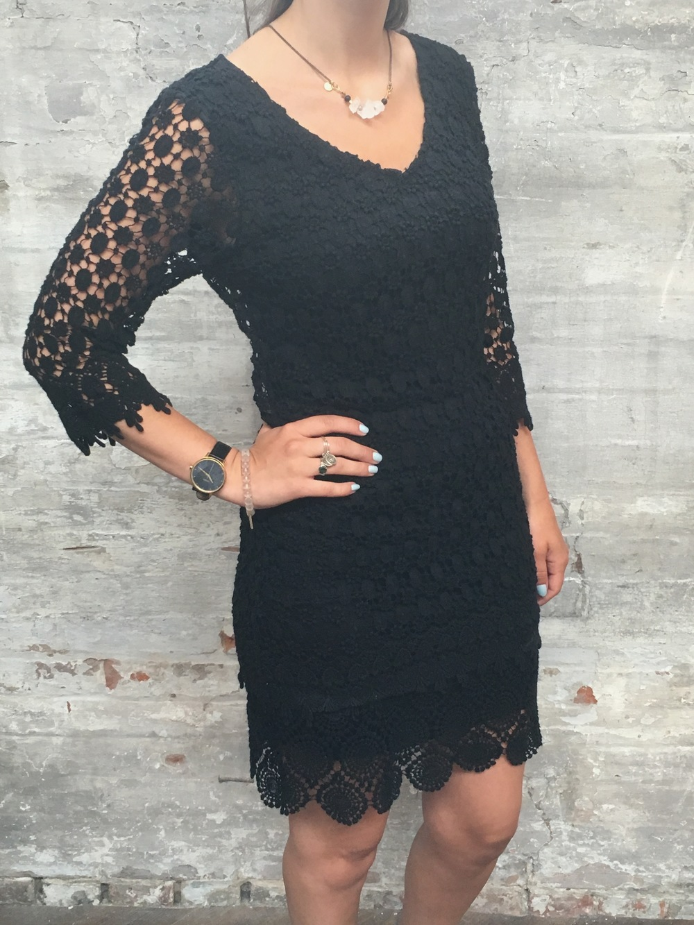 Velvet Lace Dress $298 Hen Gem Necklace $89