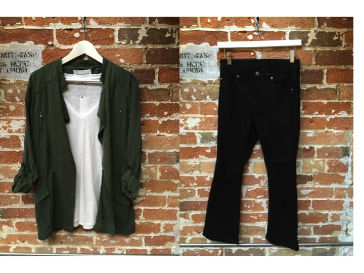 Cupcakes & Cashmere Army Jacket $188 Velvet Basic Layering Tank $98 Cheap Monday Cropped Flare Jeans $95