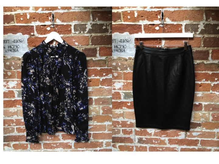 Parker Floral Silk Longsleeve $338 Cupcakes & Cashmere Leather Skirt $138