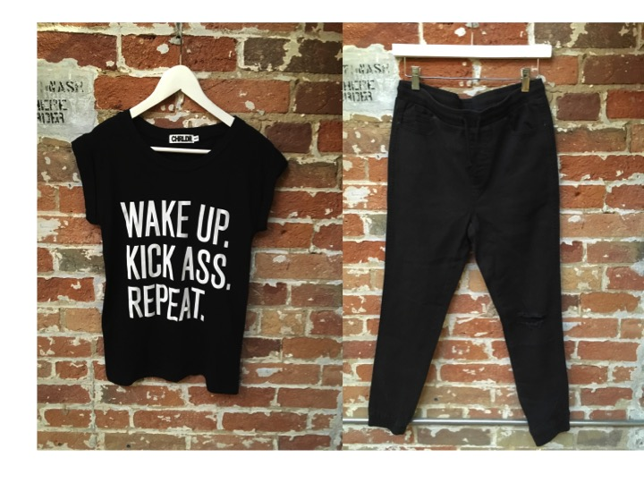 CHRLD Slogan Tee $65 Nana Judy Denim Jogger $119